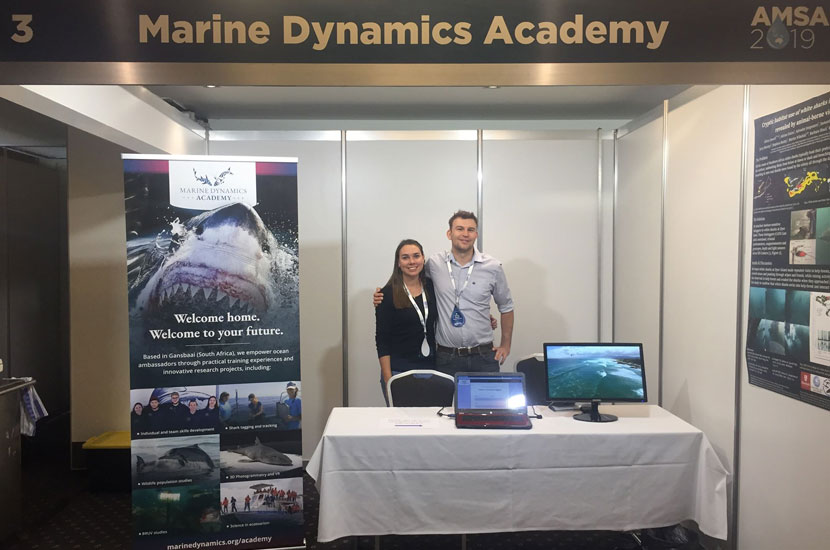 Marine Dynamics Academy Alumni Kat Dyball and I ran an exhibit at AMSA 2019 Fremantle. Photo Credit: Jenna Hounslow, Murdoch University